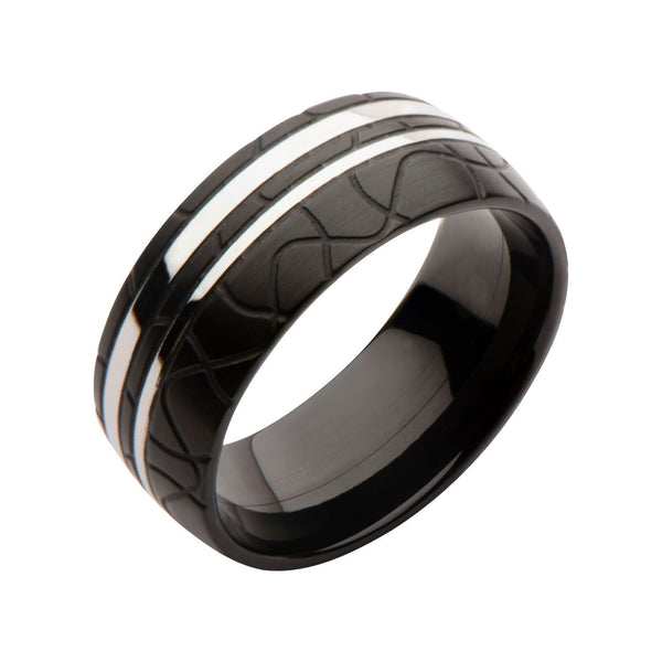 Black IP And Steel Patterned Ring