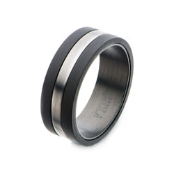 Solid Carbon with Antiqued Silver Plated Nero Ring