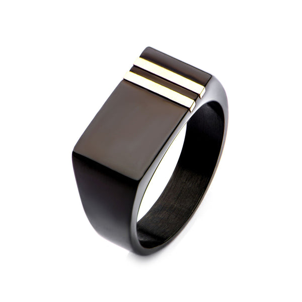 Double Line Rose Gold IP & Black IP Polished Signet Ring