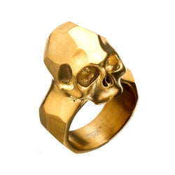 Geometric Style Brushed Gold IP Skull Rings