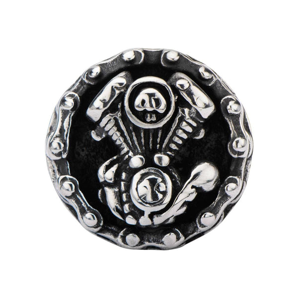 Steel Black Oxidized V8 Motor Chain Ring
