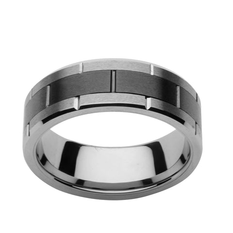 Black Center Tungsten Carbide and Ceramic Ring - Bijouterie en ligne - 1