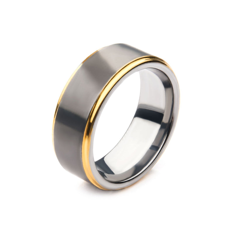 Gun Metal IP with Gold IP Edge Steel Ring
