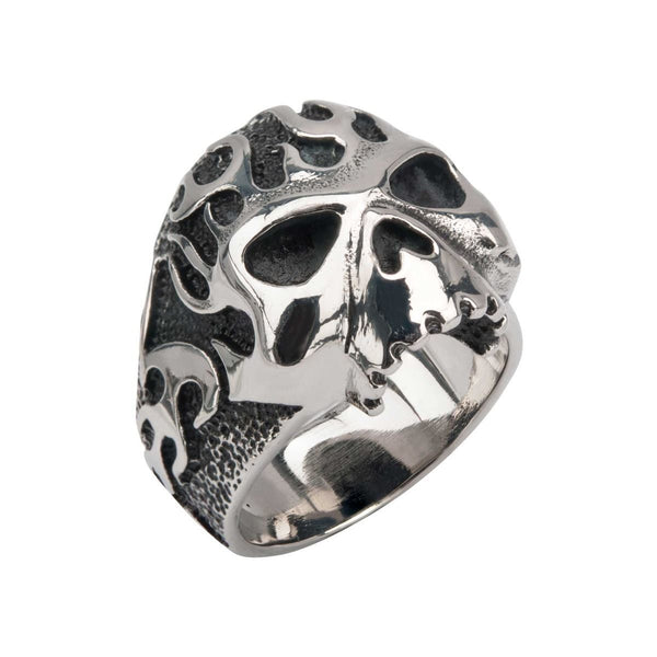 Black Oxidixed Flamed Skull Ring