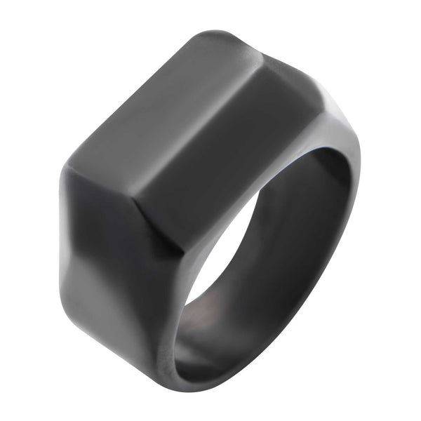 Matte Black IP Finish Modern Geometric Engraveable Ring
