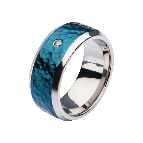 Blue IP & Steel Hammered Ring