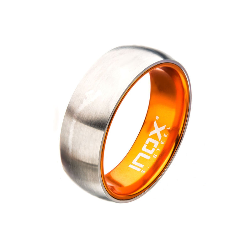 Orange, Steel, Black IP Aluminum Dome Ring