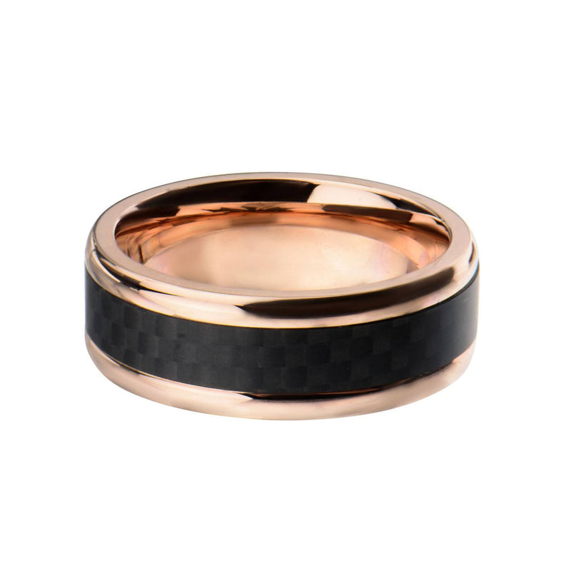 Rose Gold IP with Double Line Solid Carbon Fiber Ring - Bijouterie en ligne - 1