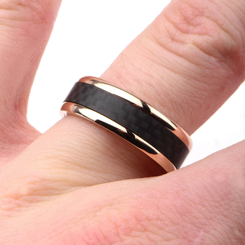 Rose Gold IP with Double Line Solid Carbon Fiber Ring - Bijouterie en ligne - 4