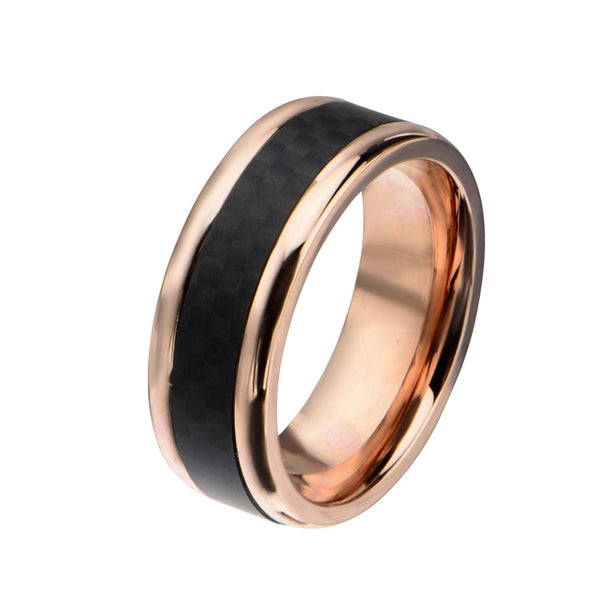 Rose Gold IP with Double Line Solid Carbon Fiber Ring - Bijouterie en ligne - 2