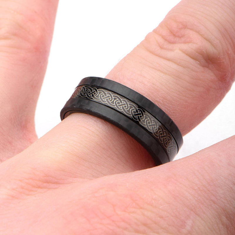 Center Celtic Design with Solid Carbon Fiber Ring. - Bijouterie en ligne - 4