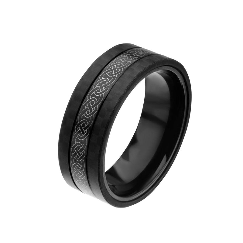 Center Celtic Design with Solid Carbon Fiber Ring. - Bijouterie en ligne - 2