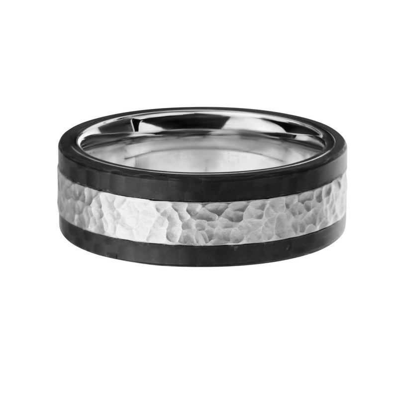 Center Hammered with Solid Carbon Fiber Ring. - Bijouterie en ligne - 1