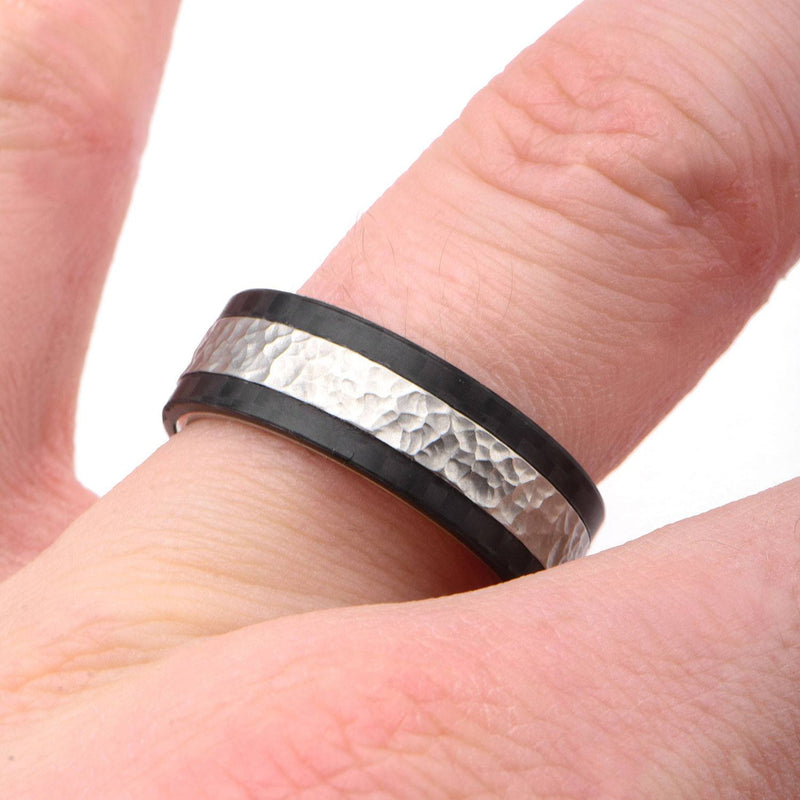 Center Hammered with Solid Carbon Fiber Ring. - Bijouterie en ligne - 4
