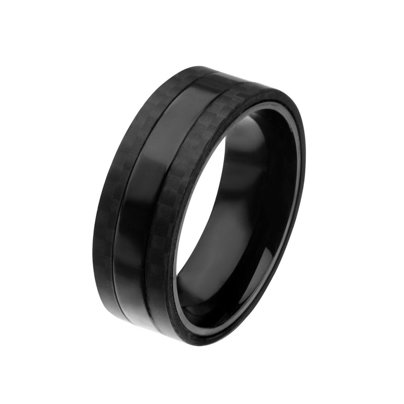 Black IP Center with Solid Carbon Fiber Ring - Bijouterie en ligne - 2