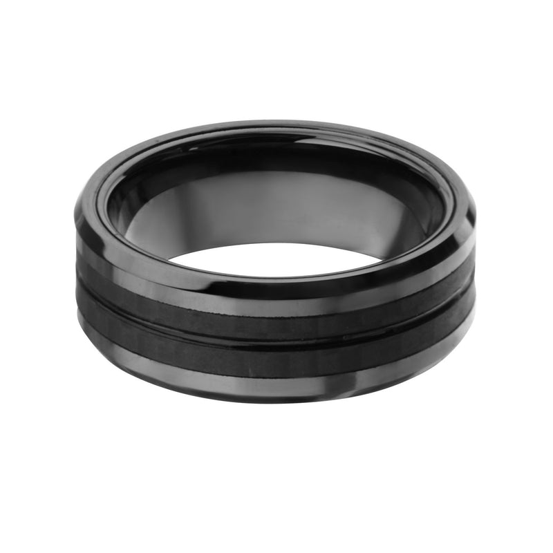 Black IP with Double Line Solid Carbon Fiber Ring. - Bijouterie en ligne - 1