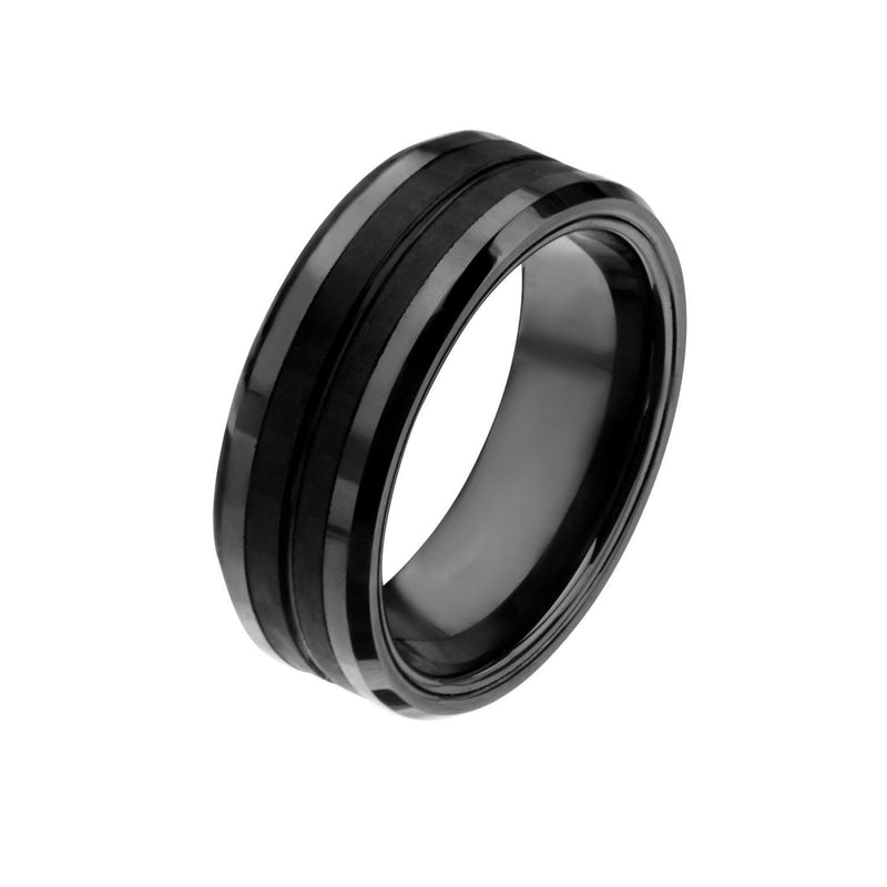 Black IP with Double Line Solid Carbon Fiber Ring. - Bijouterie en ligne - 2