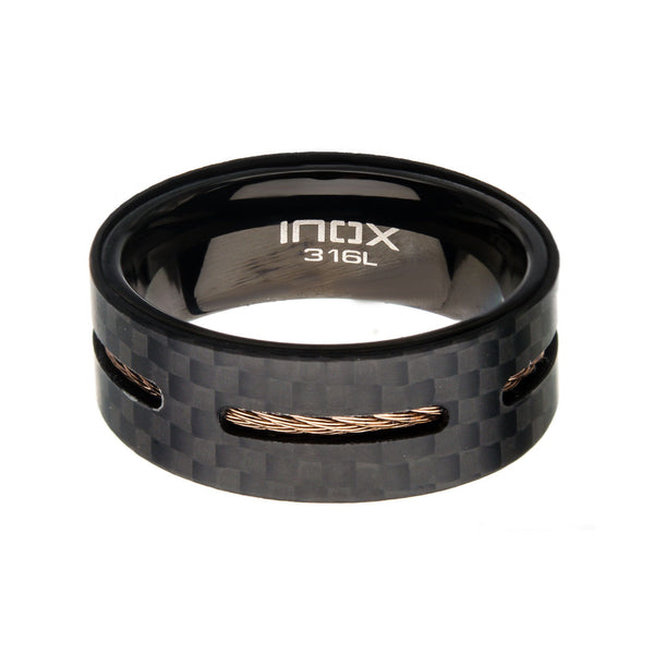 Solid Carbon Cable Inlay Ring