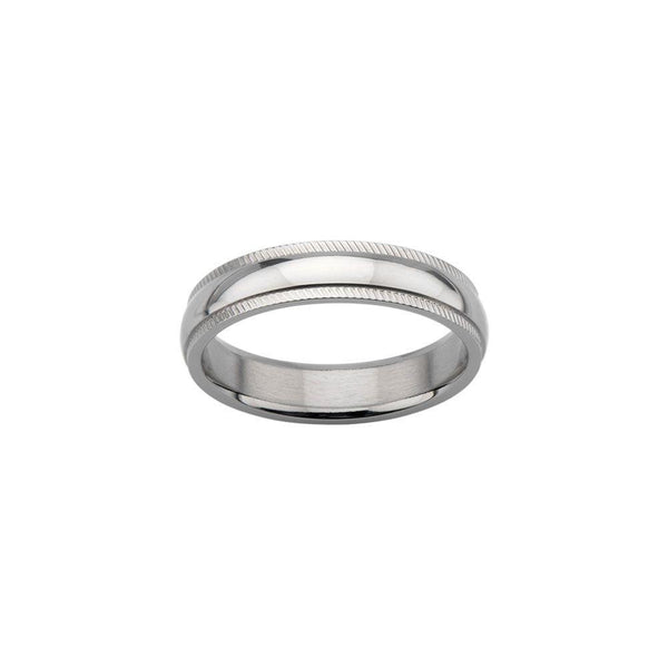Groove Edge Wedding Band Ring
