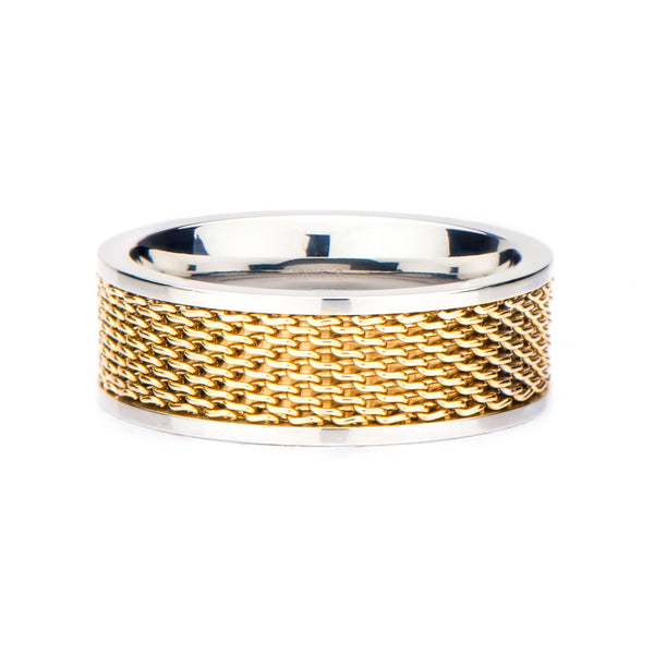 Stainless Steel Two Tone Mesh Ring