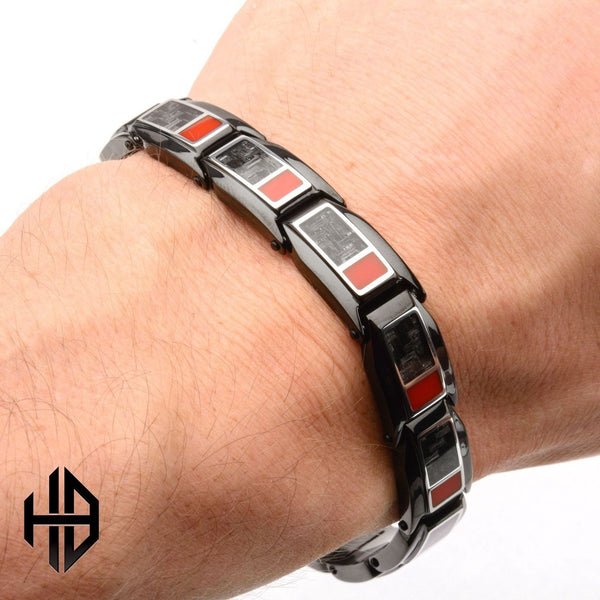 Hollis Bahringer Inlayed Carbon Fiber with Red Enamel Link Bracelet