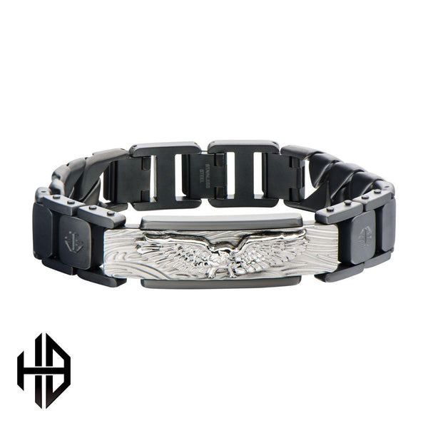Hollis Bahringer Men's Sandblasted Gun Metal & Eagle ID Link Bracelet