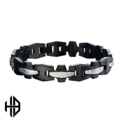 Hollis Bahringer Black IP Frame with Steel Grooves and Crests Link Bracelets