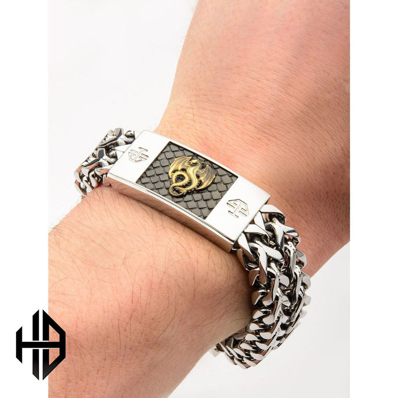 Hollis Bahringer Men's Antique Stamped Brass Dragon Link Bracelet