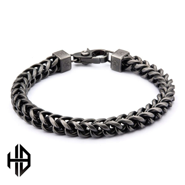 Hollis Bahringer Men's Gun Metal Polished Fox Tail Chain Bracelet