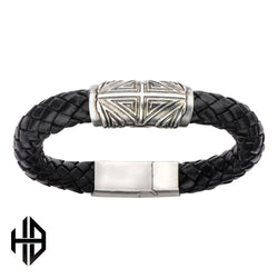 Hollis Bahringer Men's Antique Silver Heraldic Cross Bead Leather Bracelet