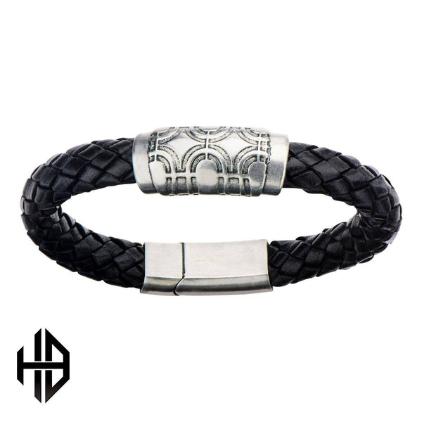 Hollis Bahringer Men's Antique Silver Circle Design Bead Leather Bracelet