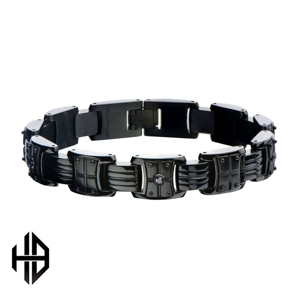 Hollis Bahringer Men's Black IP with Black-A 2.5 diamond Link Bracelet