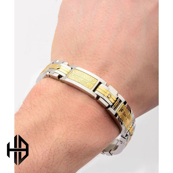 Hollis Bahringer Men's Diamond Intricate Carved Gold IP Link Bracelet