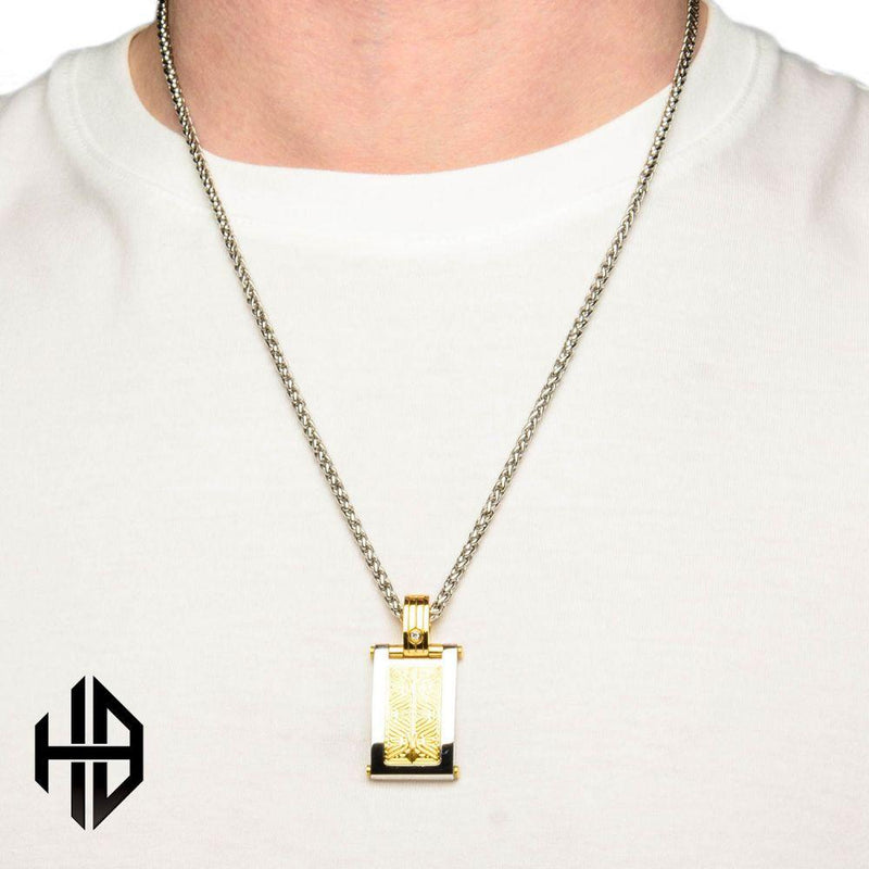 Hollis Bahringer Men's Black-A 2.5 diamond Dog Tag Pendant with Chain