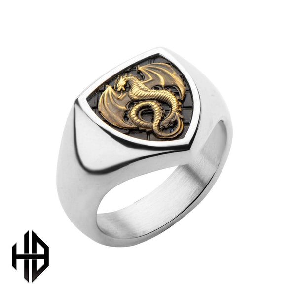 Hollis Bahringer Men's Brass Dragon and Stainless Steel Polished Ring