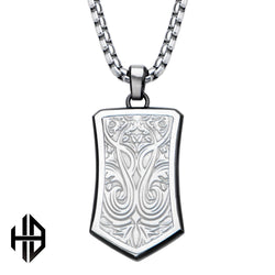 Hollis Bahringer Bold Ornate Texture Dog Tag Pendant with Chain