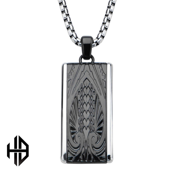 Hollis Bahringer Black IP Engrave Spade Design with Chain