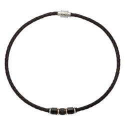 Beads in Brown Braided Leather Necklace - Bijouterie en ligne - 1