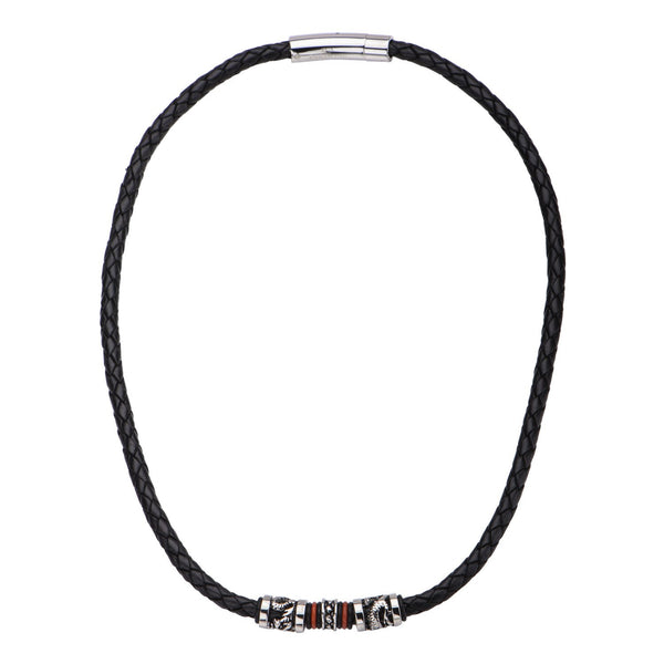 Black Leather with Red Orange Steel Necklace - Bijouterie en ligne - 1