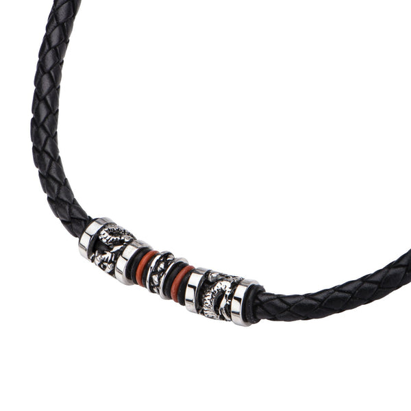 Black Leather with Red Orange Steel Necklace - Bijouterie en ligne - 2
