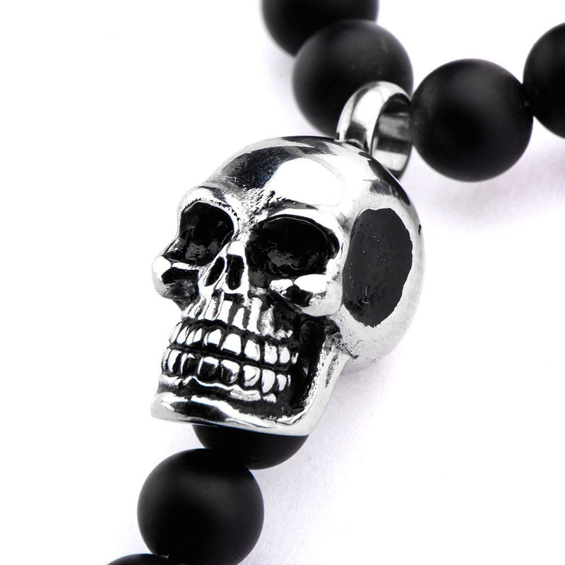 Polished and Matte Finished Skull Key Pendant in Black Onyx Bead Rosary Necklace - Bijouterie en ligne - 2