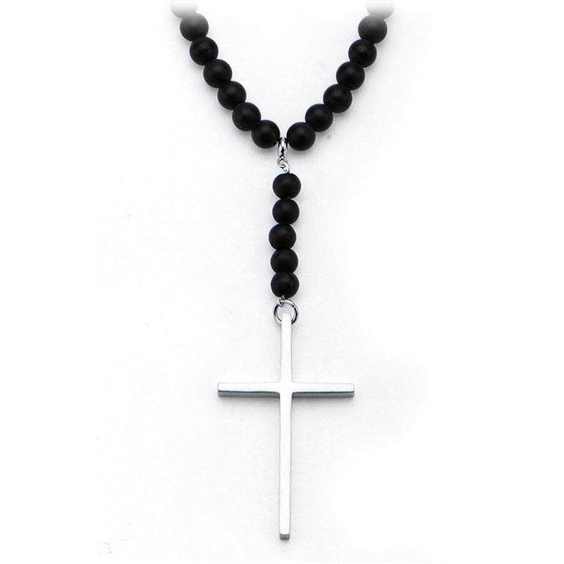 Steel Cross Black Onyx Beads Necklace - Bijouterie en ligne - 1
