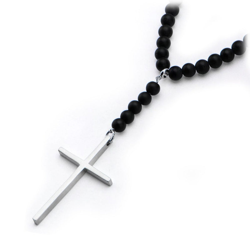 Steel Cross Black Onyx Beads Necklace - Bijouterie en ligne - 2