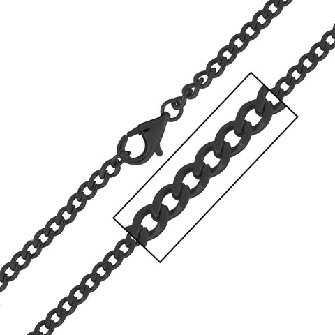 Black IP Flat Curb Polished Chain. Will Fit Most Pendant - Bijouterie en ligne - 1