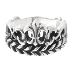 Silver Fleur De Lis and Leaf Patterned Ring