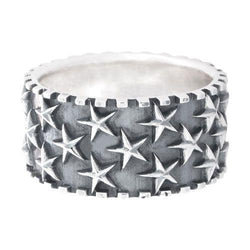 Silver with Star Ridged Edge Ring