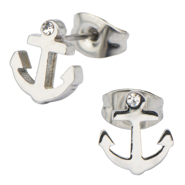 Finished Anchor with Clear Gem Stud Earrings - Bijouterie en ligne