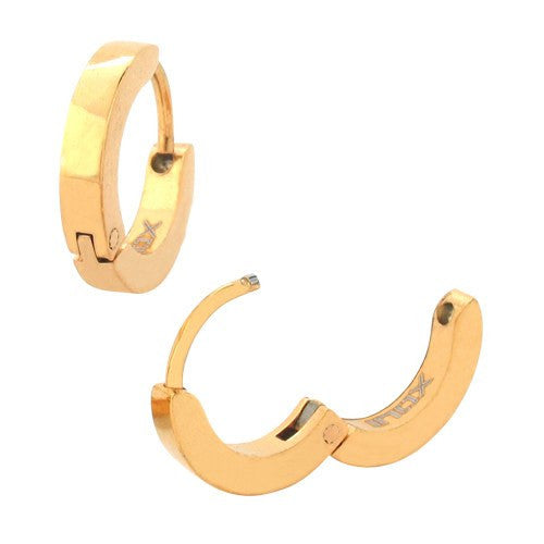 IP Gold Plain Huggies Earrings - Bijouterie en ligne