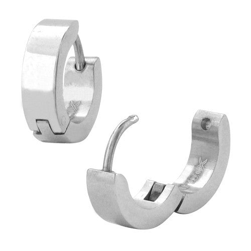 Steel Plain Huggies Earrings - Bijouterie en ligne