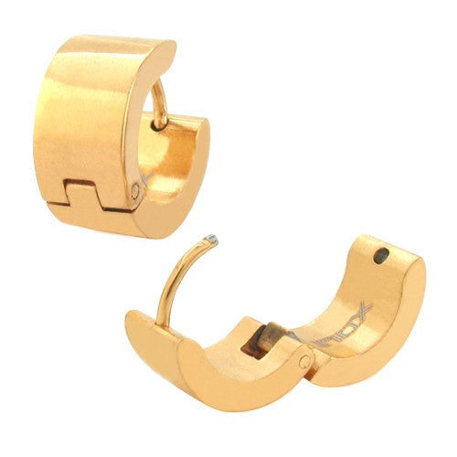 IP Gold Huggies Plain Earrings - Bijouterie en ligne